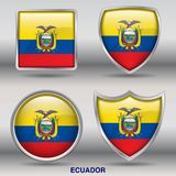 Ecuador Flag in 4 shapes collection with clipping path royalty free stock image