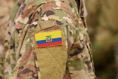 Ecuador flag on soldiers arm. Ecuador troops collage.  royalty free stock photography