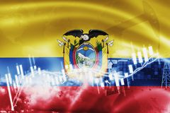 Ecuador flag, stock market, exchange economy and Trade, oil production, container ship in export and import business and logistics. South, background, banner vector illustration
