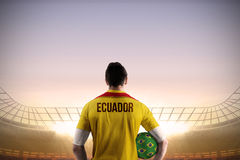Ecuador football player holding ball Royalty Free Stock Photo