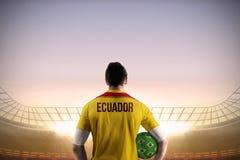 Ecuador football player holding ball royalty free stock photo