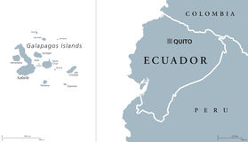 Ecuador and Galapagos Islands Political Map. Ecuador political map with capital Quito and the Galapagos Islands in the Pacific Ocean. Republic in South America Stock Photography