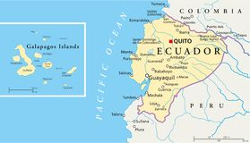 Ecuador and Galapagos Islands Political Map. With capital Quito, with national borders, most important cities, rivers and lakes. Illustration with English Royalty Free Stock Photography