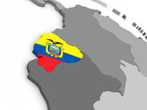 Ecuador on globe with flag Royalty Free Stock Images