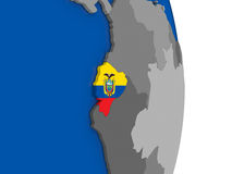 Ecuador on globe with flag Stock Photos