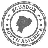 Ecuador grunge rubber stamp map and text. Round textured country stamp with map outline. Vector illustration Stock Image