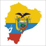 Ecuador high resolution map with national flag. Flag of the country overlaid on detailed outline map  on white background Stock Images