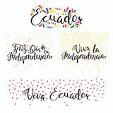 Ecuador Independence Day quotes. Set of hand written calligraphic Spanish lettering quotes for Ecuador Independence Day with stars, confetti, in flag colors Royalty Free Stock Photo