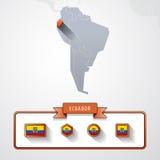 Ecuador info card. Ecuador on the map of South America with flags Royalty Free Stock Photos