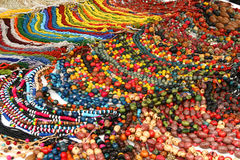 Ecuador Jewelry. A selection of colorful necklaces at a market in Ecuador Stock Photo