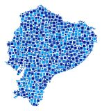 Ecuador Map Composition of Squares. Ecuador map collage of random dots in different sizes and blue color tints. Vector filled squares are organized into Ecuador Stock Images