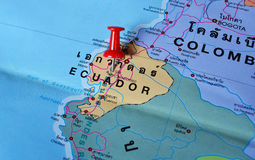 Ecuador map. Macro shot of ecuador map with push pin royalty free stock photos