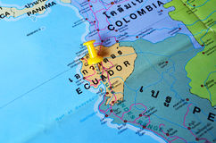 Ecuador map. Macro shot of ecuador map with push pin Stock Photography