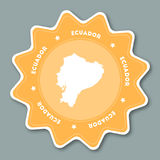 Ecuador map sticker in trendy colors. Star shaped travel sticker with country name and map. Can be used as logo, badge, label, tag, sign, stamp or emblem Stock Photos