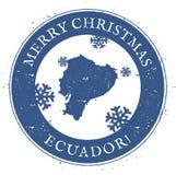 Ecuador map. Vintage Merry Christmas Ecuador. Royalty Free Stock Photo
