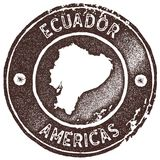 Ecuador map vintage stamp. Retro style handmade label, badge or element for travel souvenirs. Brown rubber stamp with country map silhouette. Vector Stock Images