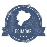 Ecuador mark. Travel rubber stamp with the name and map of Ecuador, vector illustration. Can be used as insignia, logotype, label, sticker or badge of the Royalty Free Stock Images