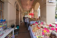 Pastries for sale under the arcades of Calderon square royalty free stock photography