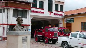 Fire station of Alausi Ecuador. Ecuador May 2018 This is the small fire station of Alausì located in a colonial restored building stock video footage