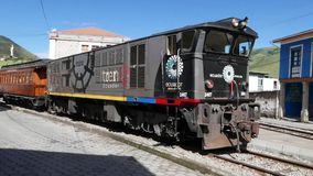 Passenger train with locomotive Alausi Ecuador. Ecuador May 2018 This train bring tourist to see the Devil Nose Mountain and its surroundings stock video