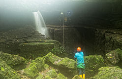 Ecuador Mayei Cave Entrance With Speleologist. Speleologists At Mayei Cave The Cave Where The Wind Is Born Cueva Donde Nace El Viento In Ecuadorian Amazonia Stock Image