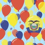 Ecuador National Day Flat Seamless Pattern. Flying Celebration Balloons in Colors of Ecuadorean Flag. Happy Independence Day Background with Flags and Balloons Royalty Free Stock Photos