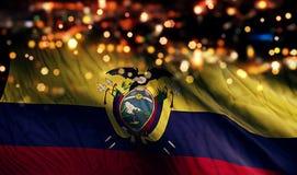 Ecuador National Flag Light Night Bokeh Abstract Background. Art royalty free stock image