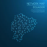 Ecuador network map. Abstract polygonal map design. Internet connections vector illustration Stock Photography