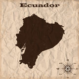 Ecuador old map with grunge and crumpled paper. Vector illustration Royalty Free Stock Photos