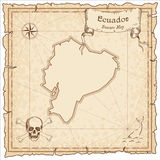 Ecuador old pirate map. Sepia engraved template of treasure map. Stylized pirate map on vintage paper Stock Image
