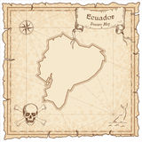 Ecuador old pirate map. Sepia engraved template of treasure map. Stylized pirate map on vintage paper Stock Photography