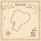 Ecuador old treasure map. Sepia engraved template of pirate map. Stylized pirate map on vintage paper Royalty Free Stock Images