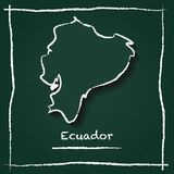 Ecuador outline vector map hand drawn with chalk. Ecuador outline vector map hand drawn with chalk on a green blackboard. Chalkboard scribble in childish style Royalty Free Stock Images