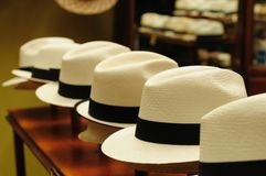 Ecuador, Panama Hats. Ecuador - Panama Hats,  is a traditional brimmed hat made in Cuenca Royalty Free Stock Photo