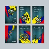 Ecuador Patriotic Cards for National Day. Expressive Brush Stroke in National Flag Colors on dark striped background. Ecuador Patriotic Vector Greeting Card Stock Photography