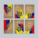 Ecuador Patriotic Cards for National Day. Expressive Brush Stroke in National Flag Colors on kraft paper background. Ecuador Patriotic Vector Greeting Card Royalty Free Stock Photos
