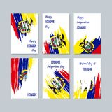 Ecuador Patriotic Cards for National Day. Expressive Brush Stroke in National Flag Colors on white card background. Ecuador Patriotic Vector Greeting Card Stock Photo