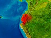 Ecuador on physical map Stock Photography
