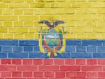 Ecuador Politics Concept: Ecuadorian Flag Wall. Background Texture stock photos
