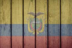 Ecuador Flag Wooden Fence. Ecuador Politics News Concept: Ecuadorian Flag Wooden Fence royalty free stock images