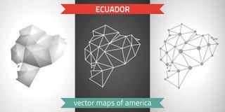 Ecuador-Sammlung der modernen Karten-, Grauer und Schwarzer und silbernerdes punktentwurfs-Mosaiks 3d Karte des Vektordesigns Stockfotos