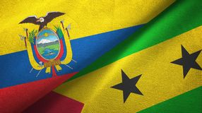 Ecuador and Sao Tome and Principe two flags textile cloth, fabric texture. Ecuador and Sao Tome and Principe two folded flags together royalty free illustration