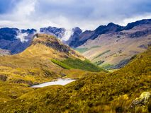Ecuador, scenic landscape in Cajas National Park. With ponds, mountains and pristine moorlands royalty free stock photo