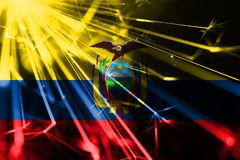 Ecuador shining fireworks sparkling flag. New Year 2019 and Christmas futuristic shiny party concept flag. Ecuador shining fireworks sparkling flag. New Year vector illustration