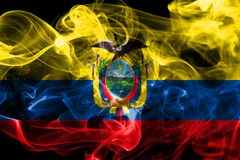 Ecuador smoke flag on a black background.  stock image