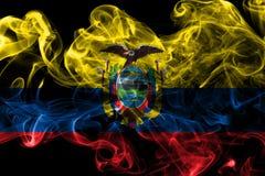 Ecuador smoke flag on a black background.  stock photography