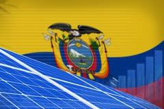 Ecuador solar energy power digital graph concept - modern natural energy industrial illustration. 3D Illustration vector illustration