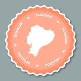 Ecuador sticker flat design. Round flat style badges of trendy colors with country map and name. Country sticker vector illustration Stock Image