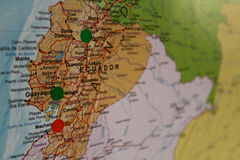 Ecuador travel plan map Royalty Free Stock Images