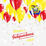 Ecuador Vector Patriotic Poster. Independence Day. Ecuador Vector Patriotic Poster. Independence Day Placard with Bright Colorful Balloons of Country National Stock Photo